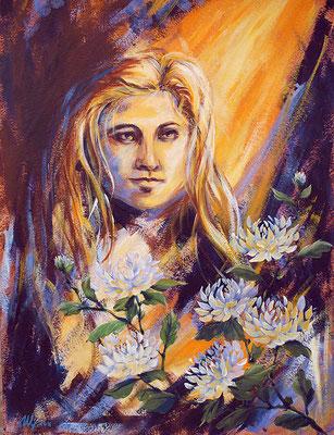 Chrysanthemums. Acrylic, cardboard, 50x65cm, 11-2011