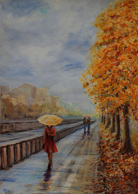 Promenade with an umbrella. Acrylic, cardboard, 50x70cm, 10-2011.In a private collection