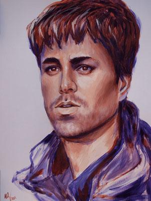 Enrique Iglesias. acrylic, cardboard, 30x40cm, 06-2011, Sold