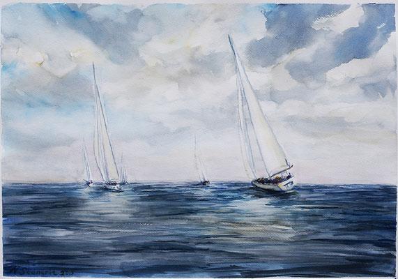 Segelboote Watercolor, 30x40cm paper, 2015