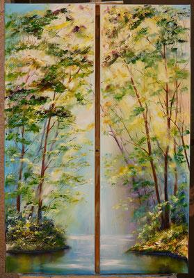 Freshness Oil on canvas, triptych, 1piece- 30x90cm. 2017.