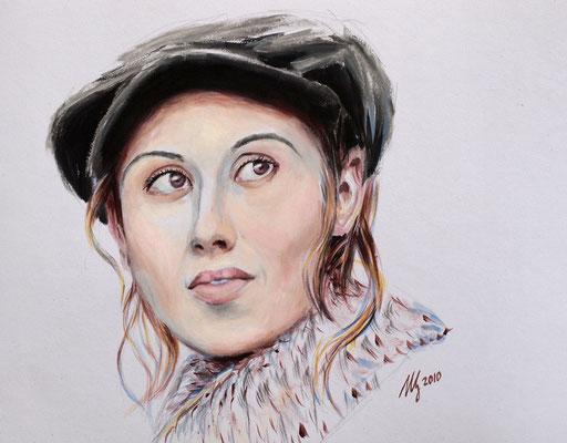 Lara Fabian.Acrylic, paper, 29x40cm, 12-2010.