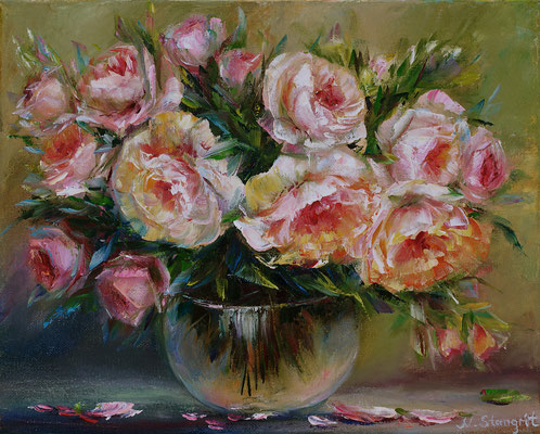 Roses Oil on canvas. 25x30cm. 05-2017
