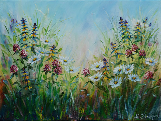 Summer flowers #5. Oil on canvas, 30x40cm, 01-2018.