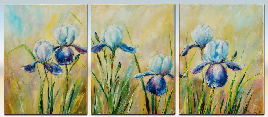 "Irises Wall Art Decor Triptych Oil on canvas. 3: 30cm x 40cm(90x40), 2016 16"" x 36"""