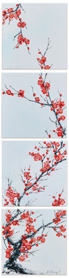 Sold! Sakura. Oil on canvas. 4 pc. 25x25cm 2016