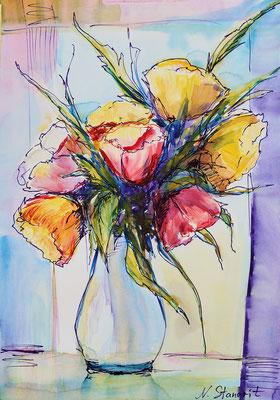 Bouquet Mixed media, paper 24x34 cm, 6-2016