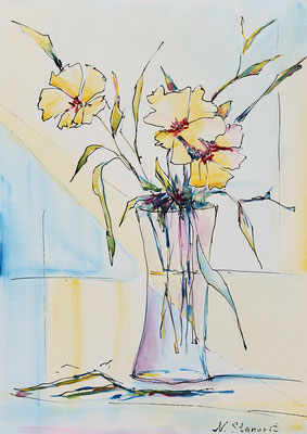 Yellow Flowers Watercolor on paper 24x34 cm, 2016
