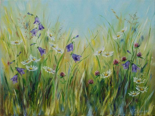Summer flowers. Bellflowers.  Oil on canvas, 30x40cm. 06-2017