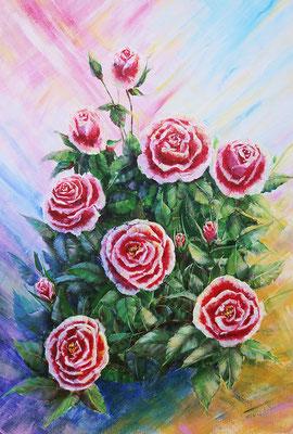 Bouquet of roses. Acrylic, cardboard, 35x40cm 2015