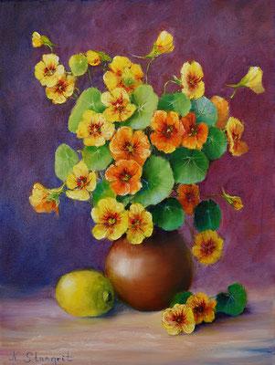 Bouquet of nasturtium and lemon Oil on canvas. 30x40cm, 02-2018