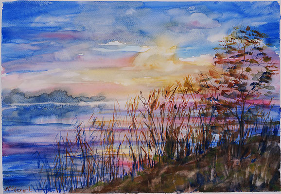 Sunset on the Lake. Watercolor on paper, 30x40 cm, 2015