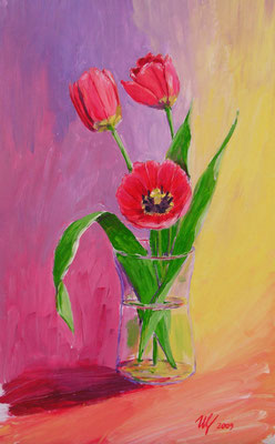 First tulips, acrylic, 20x30cm, 05-2009.