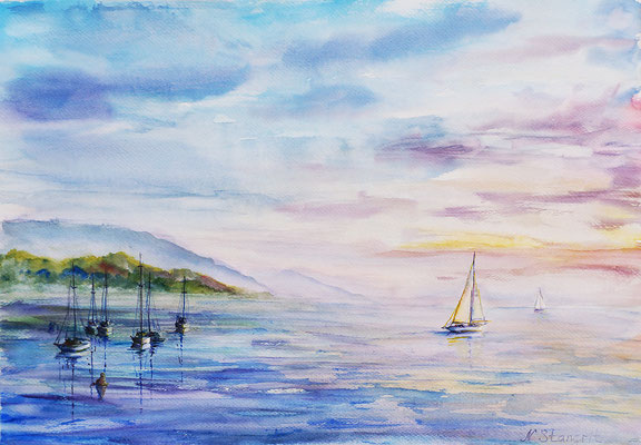 Sail and Sea. Watercolor on paper, 29x40cm, 2015