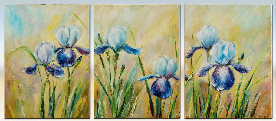 "Irises Wall Art Decor Triptych Oil on canvas. 3: 30cm x 40cm(90x40), 2016 16"" x 36"""