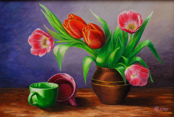 Still life wiht tulips, acrylic, 35x50cm, 04-2010. In a private collection