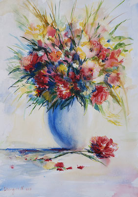 Still Life with flowers. Watercolor on paper, 29x40cm, 2015