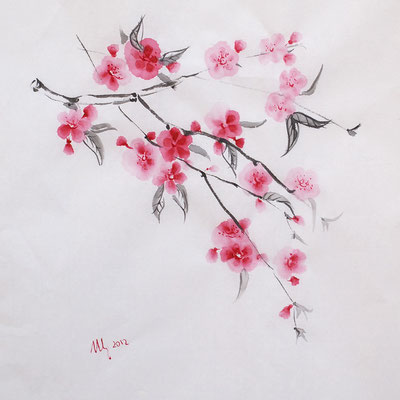 Sakura. Ink, watercolor, rice-paper, 02-2012.