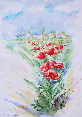 Field poppies 1. Mixed media. 34x49cm. 2015