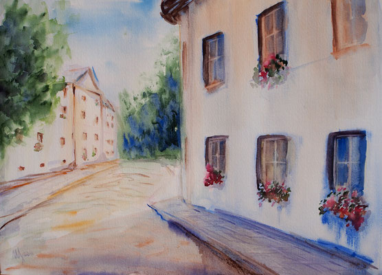 Quiet street, watercolor, 29x42cm, 06-2011
