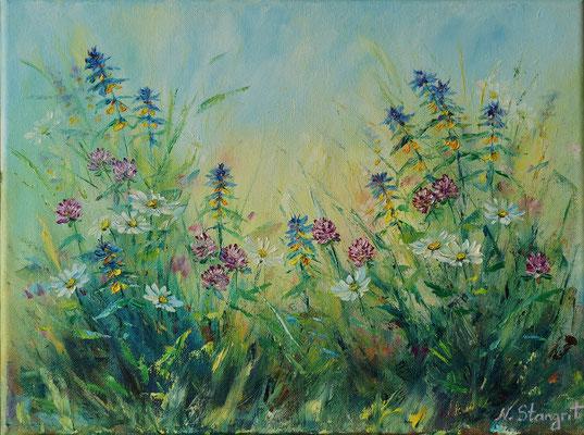 Summer flovers. Wood Cow Wheat. Oil on canvas, 30x40cm. 08-2017