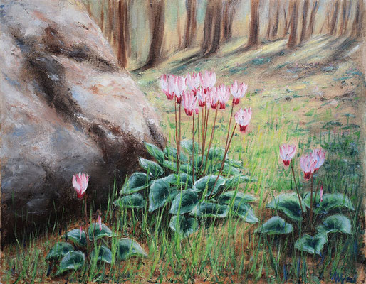 Forest Cyclamen. Oil on canvas, 40x50 cm, 03-2011, Sold