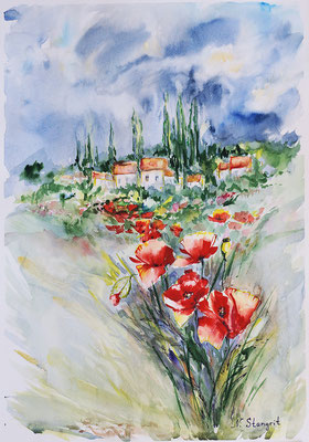Field poppies 2. Watercolor on paper. 30x40cm 2015 #Art