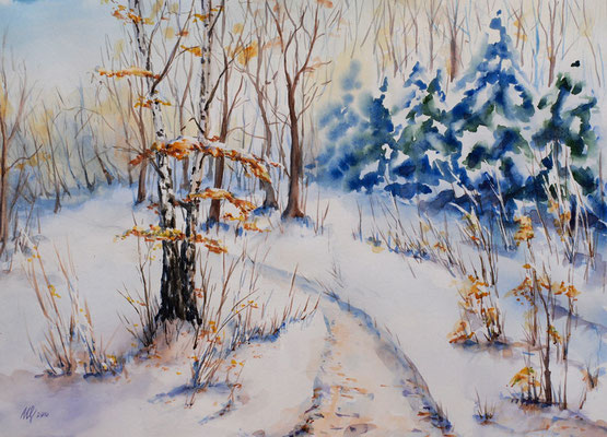 First snow. Watercolor, paper, 29x40cm, 12-2010.Sold