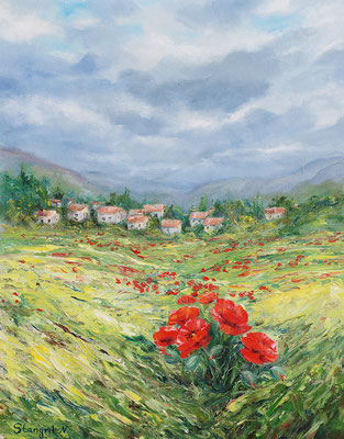 Field poppies. Oil on panel canvas. 40 x 50 cm. 2015