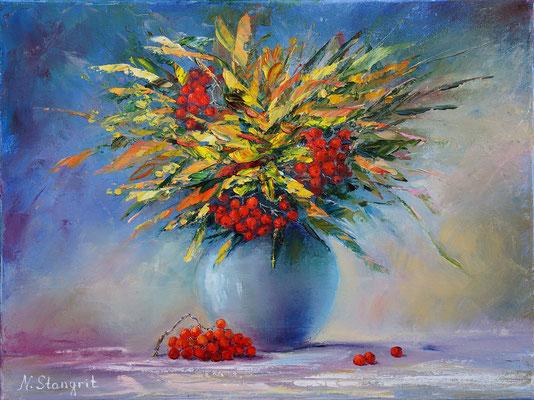 Still Life with rowan Натюрморт с рябиной Oil on canvas, 30x40cm, 09-2016
