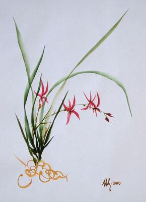Orchid 1,stylization sumi-e, watercolor, A4, 07-2010.