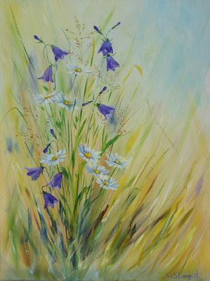 Summer flowers, Bluebells. #1 Oil on canvas, 30x40cm, 07-2017