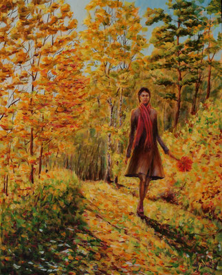 Autumn walk. Acrylic, cardboard, 40x50cm, 10-2010.