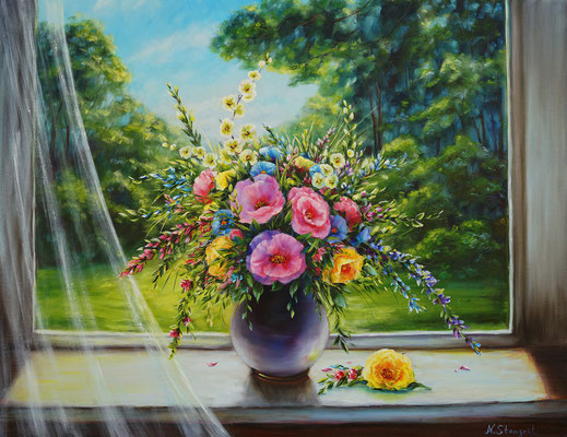 Summer flowers on the window Free copy Oil on canvas, 70x90 cm