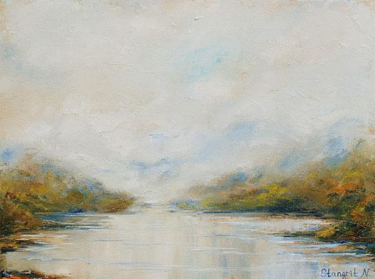 Rain and Mist Oil on panel canvas, 30x40 cm,11-2015 #art #autumn #fall #rain #mist