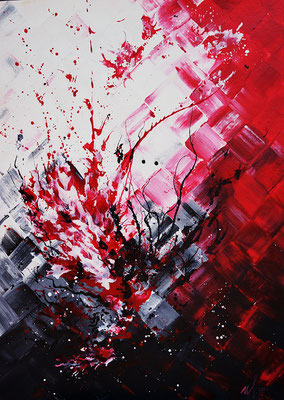 "From Red to black. Acrylic on cardboard. 05-2014. 50x70cm(20""x 28"")"