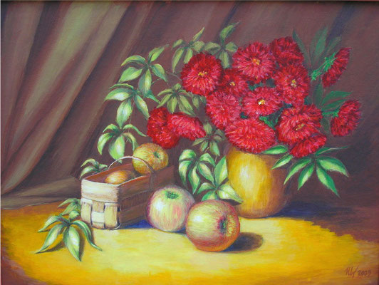 Autumn still life, acrylic, 30x40cm, 10-2009. In a private collection