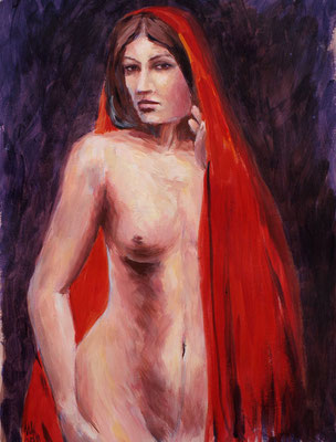 In red. Acrylic, paper 300 g/m2, 29x42cm, 01-2011.