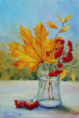 Yellow leaf , oil on canvas. 24x30cm. 2018