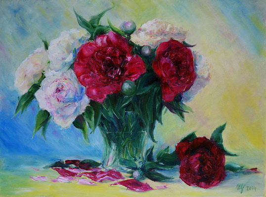 Peonies, Oil on canvas. 30x40 cm. 2014