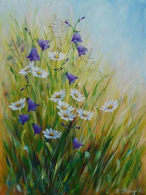 Summer flowers. Bluebells. #6 Oil on canvas, 30x40cm, 01-2018.