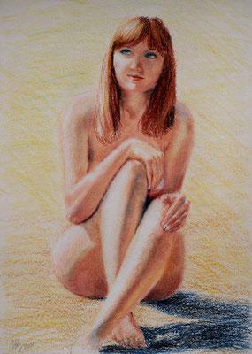 In the warm sunshine. Cardboard, oil pastel, 50x70cm, 02-2011.