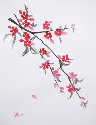 Sakura. Ink, watercolor, watercolor paper, 02-2012.