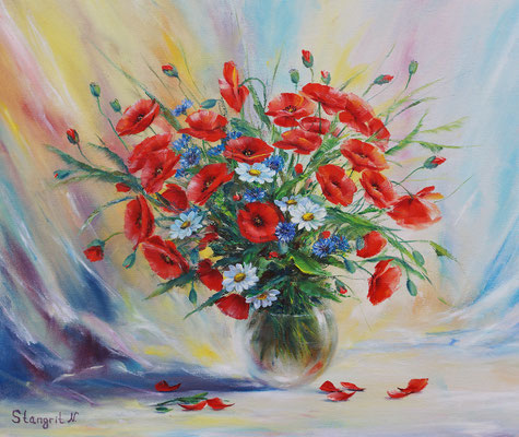 Poppies for Mom. Oil on panel canvas, 40x50cm, 08-2015 Sold!