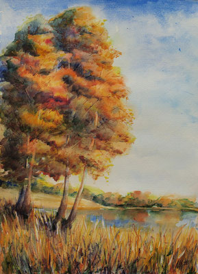 Golden Autumn. watercolor, 29x42cm, 09-2011. Sold