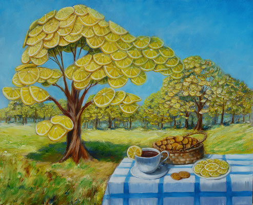 Lemon garden. Free copy.  Oil on canvas, 40x50cm. 06-2017