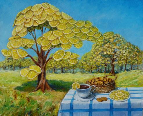 Lemon garden. Free copy.  Oil on canvas, 40x50cm. 06-2017