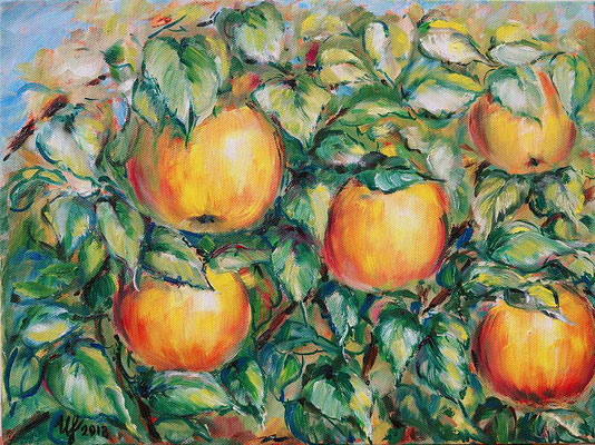 Apples on a branch 2. oil on canvas, 30x40 cm, 11-2013