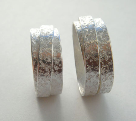 federnde Bänder • Silber 925 • Granitstruktur