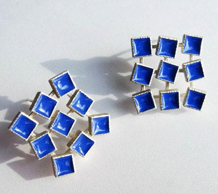 blue motion • Ohrringe 2009 • Silber, Emaille